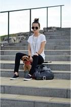 black slip on Forever 21 shoes - black diy H&M jeans - black biker my design bag