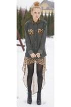 leopard DIY Shirt shirt - heel less Boohoo boots boots - leopard H&M skirt skirt