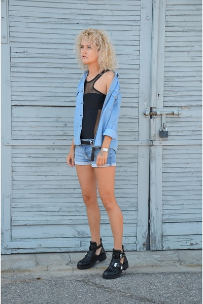 blue denim second hand shirt - black cut out GoJane boots