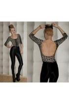 disco American Apparel pants - heelless Boohoo boots - leopard Topshop bodysuit