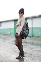 black zip new look boots - beige jumper Local store dress