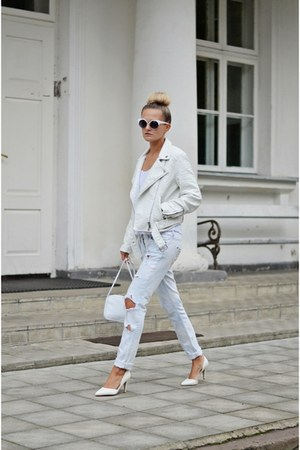 off white white pull&bear jacket - light blue ripped DIY jeans