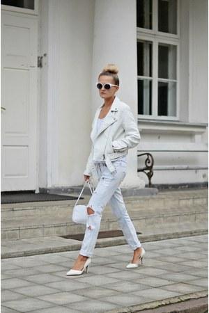 off white white pull&bear jacket - light blue ripped DIY jeans