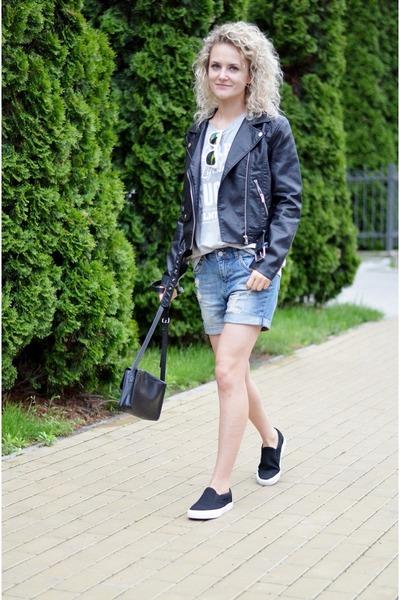 black biker H&M jacket - sky blue boyfriend H&M shorts