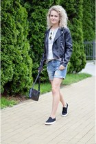 black biker H&M jacket - sky blue boyfriend H&M shorts