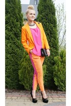 orange no name blazer - pink no name blouse - pink-orange my design pants