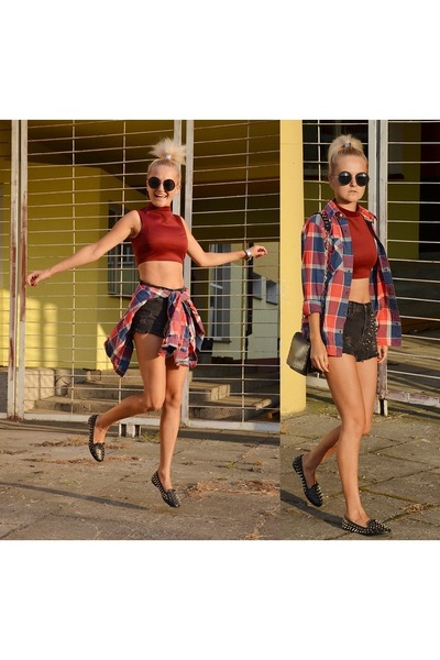 black DIY shorts - crimson hollister shirt - crimson DIY top