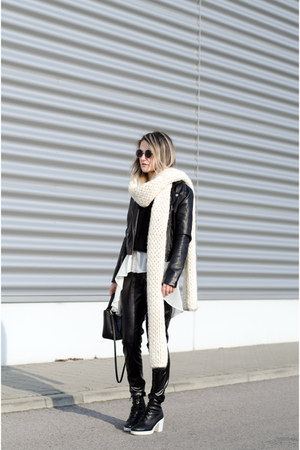 black bw new look boots - black biker H&M jacket - black pu own design pants