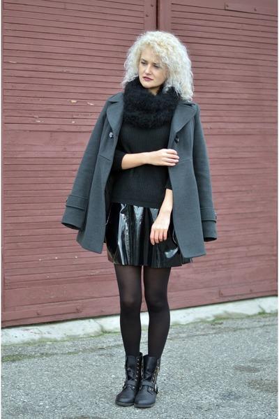 black vinyl my design skirt - black zip new look boots