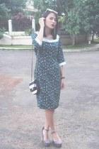 black sling bag Aldo bag - teal vintage dress thrifted dress