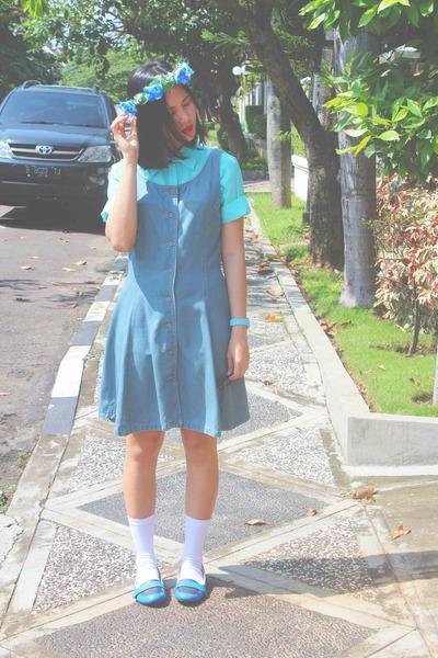 sky blue pinafore dress - aquamarine short sleeves Mark & Spencer shirt