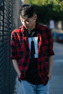 Zara-jeans-red-checkered-h-m-shirt-urban-outfitters-t-shirt