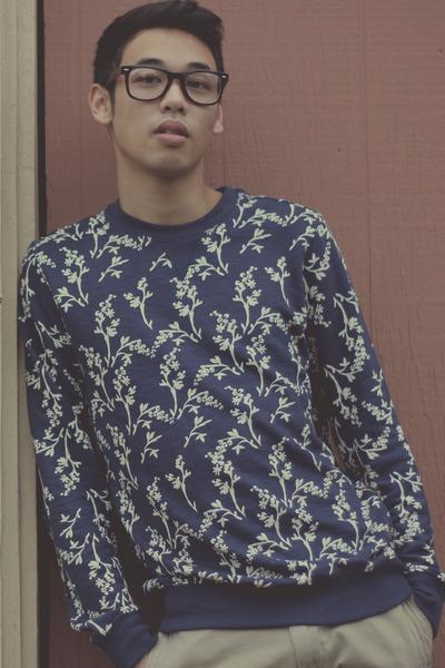 brown Aldo boots - blue floral CPO sweater - tan khaki JCrew pants