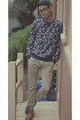 Brown-aldo-boots-blue-floral-cpo-sweater-tan-khaki-jcrew-pants