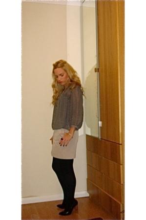 Zara blouse - Zara skirt - woolford tights - YSL shoes