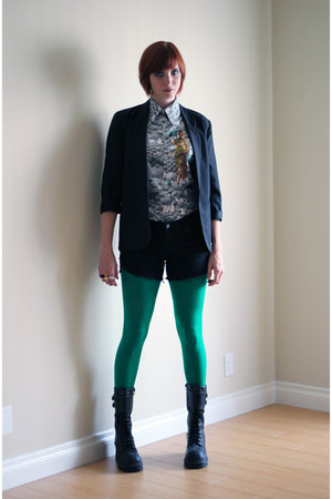 black Soda boots - black thrifted vintage blazer - green We Love Colors tights