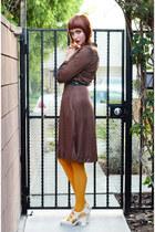 brown vintage dress - mustard Gap tights