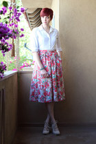 pink vintage skirt - white thrifted blouse - off white Payless heels