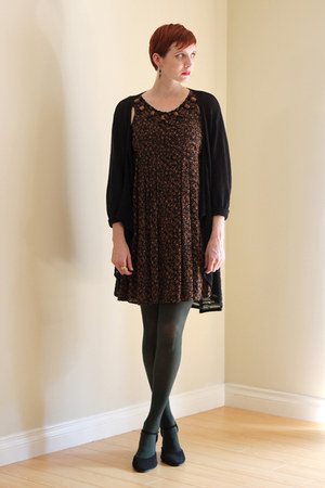 brown vintage dress - dark green Forever 21 tights - black vintage cardigan