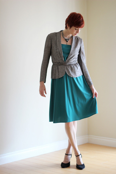 teal vintage dress - black vintage jacket