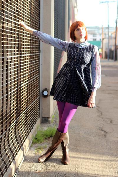 sky blue vintage blouse - dark brown AK Anne Klein boots