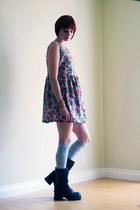 black Soda boots - hot pink vintage dress - silver H&M socks