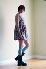Black-soda-boots-hot-pink-vintage-dress-silver-h-m-socks