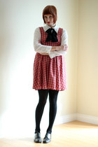 white thrifted blouse - dark gray Circa Joan & David shoes - red vintage dress