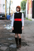 white Bird blouse - dark brown AK Anne Klein boots - navy vintage dress