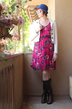 AK Anne Klein boots - Old Navy dress - vintage hat - Mossimo cardigan