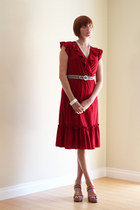 ruby red vintage dress - blue vintage belt - ruby red merona wedges