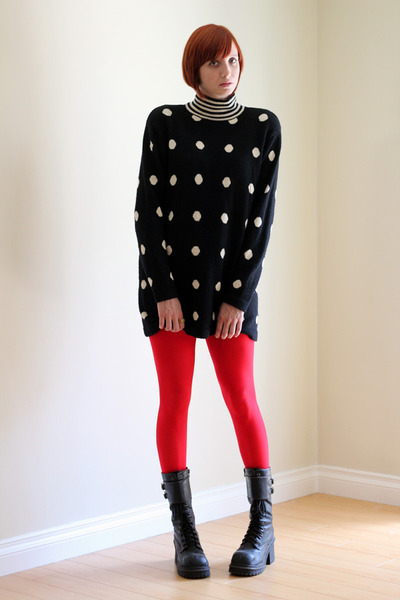 black Soda boots - black wool vintage dress - red We Love Colors tights