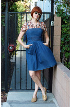 brown vintage blouse - navy JFW dress - gold Bass flats