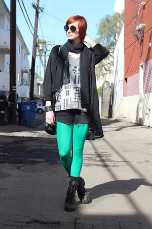 black H&M shorts - green We Love Colors tights - black vintage cardigan