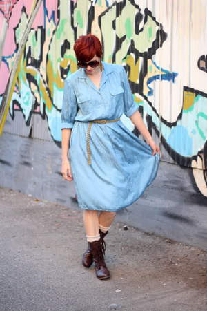 dark brown Target boots - sky blue thrifted vintage dress