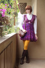 Dark-brown-ak-anne-klein-boots-magenta-free-people-dress