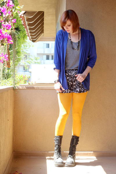 black Soda boots - mustard Gap tights - black Mossimo shorts