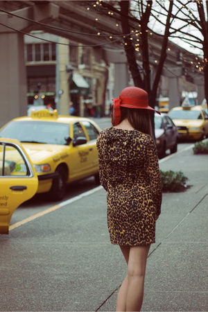 red hat - brown Rodarte for Target dress
