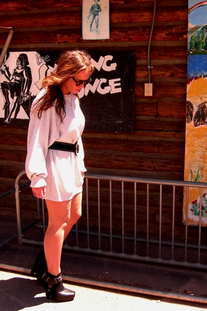 vintage dress - Topshop belt - sam edelman boots - vintage from Ebay sunglasses