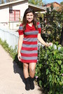 Black-macys-boots-red-jcpennys-dress