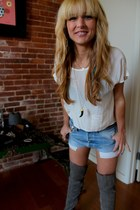 suede vera moda boots - planet blue shirt - Levis shorts - black and gold planet