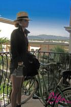 panama hat J Crew hat - vintage levis shorts - chiffon American Apparel blouse -