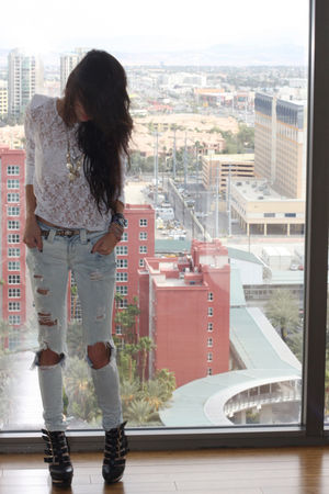 white christeric top - Sneak Peek jeans - Jeffrey Campbell shoes
