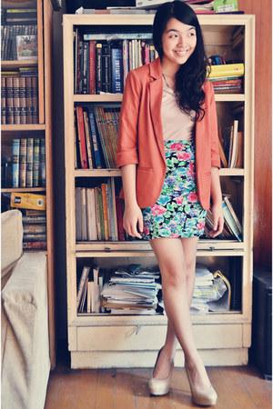 turquoise blue cotton on skirt - light pink Forever 21 dress