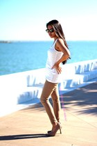 Ray Ban sunglasses - pants - blouse - heels