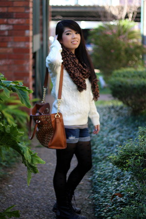 scarf - boots - sweater - tights - shorts
