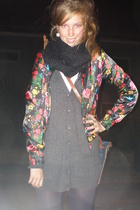 GINA TRICOT jacket - Zara sweater - Vintge Episode scarf - hlns tights - Mulberr