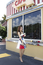 white Prada dress - beige Valentino bag - Prada sandals