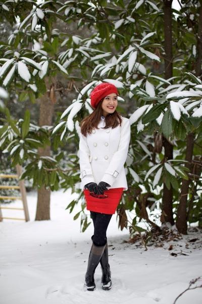 Hunter boots - WhiteHouseBlackMarket jacket - Topshop skirt