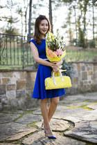 Louis Vuitton bag - studded Valentino shoes - Eliza J dress